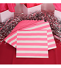 Pack of 16 Candy Pink Striped Beverage Napkins #3/8890