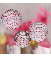 6 White and Candy Pink Polka Dot Paper Lanterns #3/9019