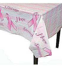 Pink Ribbon Printed Plastic Tablecloth #3/956