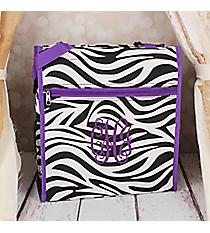 Zebra Shopper Tote with Dark Purple Trim #PH3013-163-A/P