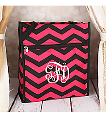 Black and Fuchsia Chevron Shopper Tote #TH3013-165-B/F
