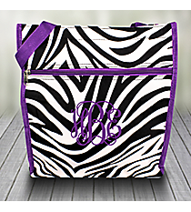 Zebra Shopper Tote with Dark Purple Trim #PH3013-163-A/P