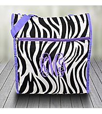 Zebra Shopper Tote with Purple Trim #PH3013-163-PP