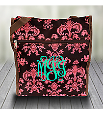 Brown and Pink Vintage Damask Shopper Tote #PH3013-632