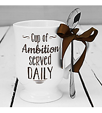 'Cup of Ambition Served Daily' Coffee Mug and Spoon Set #30259-AMBITION