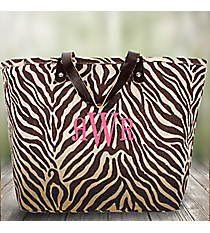 Small Brown and Cream Zebra Classic Jute Tote #31852