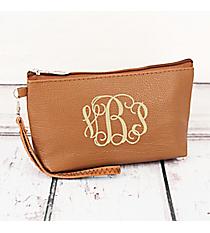 Caramel Faux Leather Wristlet #32506