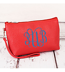 Red Faux Leather Wristlet #32511