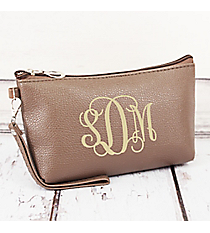 Taupe Faux Leather Wristlet #32512