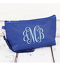 Royal Blue Faux Leather Wristlet #32515