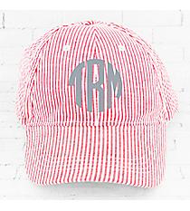 Red Striped Seersucker Cap #32518
