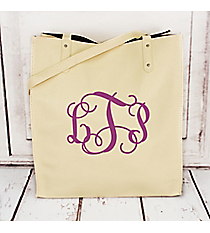 Cream Faux Leather Tall Tote #32591