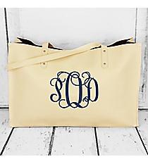 Cream Faux Leather Tote Bag #32595