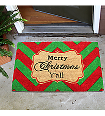 """Merry Christmas Y'all"" Chevron Door Mat #32623"