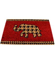 Red with Brown Houndstooth Elephant Door Mat #32629