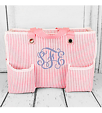 Pink Striped Seersucker Organizer Tote #32694