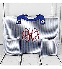 Blue Striped Seersucker Organizer Tote #32696