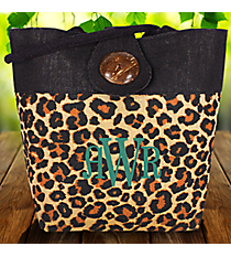Cheetah Print Jute Bag with Button #33063