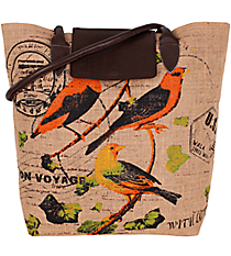 Canaries Jute Market Tote with Leather Trim #33064