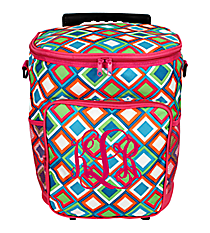 Multi-Color Diamonds with Hot Pink Trim Rolling Cooler Bag #33149