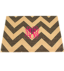 Gray and Natural Chevron Burlap Jute Placemat #33508