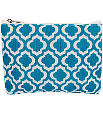 Turquoise and White St. Tropez Juco Cosmetic Bag #33777