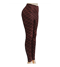 Pretty in Plaid Leggings, Burgundy #US-SHW9044