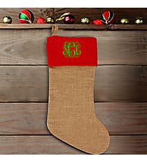 Natural Jute Stocking with Red Trim #33989