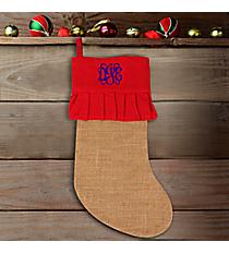 Jute Stocking with Red Ruffle Trim #34180