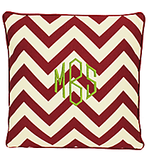 Red and White Chevron Pillow #34882