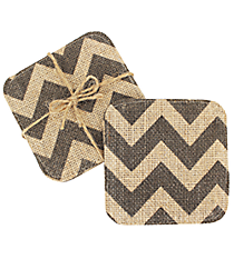 Set of 4 Natural and Gray Chevron Jute Coasters #35087