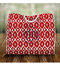 Red and White Kate Oversize Jute Tailgate Tote #35254