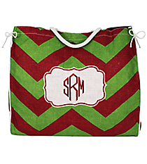 Red and Green Chevron Frame Oversize Jute Tote #35256