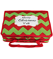 """""""Merry Christmas Y'all"""" Chevron Insulated Casserole Tote #35282"""