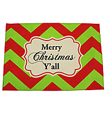 "One ""Merry Christmas Y'all"" Chevron Jute Placemat #35295"
