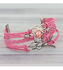 Multi-Strand Infinity, Heart, and Fleur De Lis Bracelet #3538