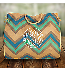 Multi-Blue, Gray and Natural Chevron Oversize Jute Tote #35574