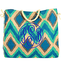 Turquoise, Aqua, and Gray Cailyn Oversize Jute Tote #35575