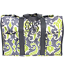 Gray and Green Ikat Organizer Tote with Gray Trim #35653