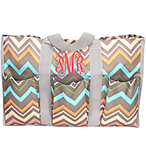 Multi-Color Lindy Chevron Organizer Tote with Gray Trim #35654