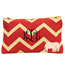 Red and Natural Chevron Elephant Juco Cosmetic Bag #35776