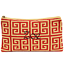 Red and Natural Greek Key Juco Cosmetic Bag #35781