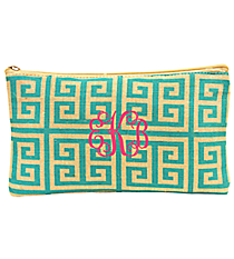 Teal and Natural Greek Key Juco Cosmetic Bag #35782