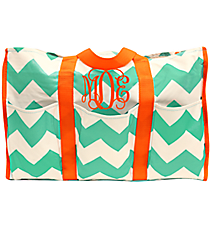 Sea Green and White Chevron Organizer Tote with Orange Trim #35881