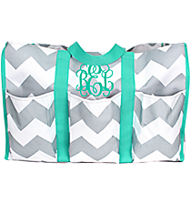 Gray and White Chevron Organizer Tote with Aqua Trim #35882