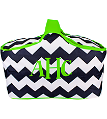 Navy and White Chevron with Lime Trim Picnic Tote #35885
