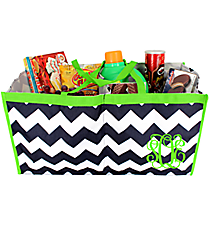 Navy and White Chevron Trunk Tote with Lime Trim  #35896