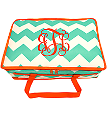 Sea Green and White Chevron Insulated Casserole Tote with Orange Trim #35901