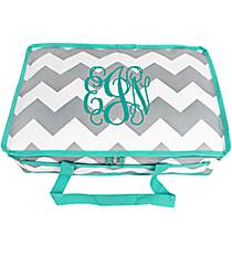 Gray and White Chevron Insulated Casserole Tote with Aqua Trim #35902