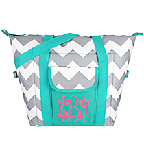 Gray Chevron with Aqua Trim Convertible Cooler Bag #35904